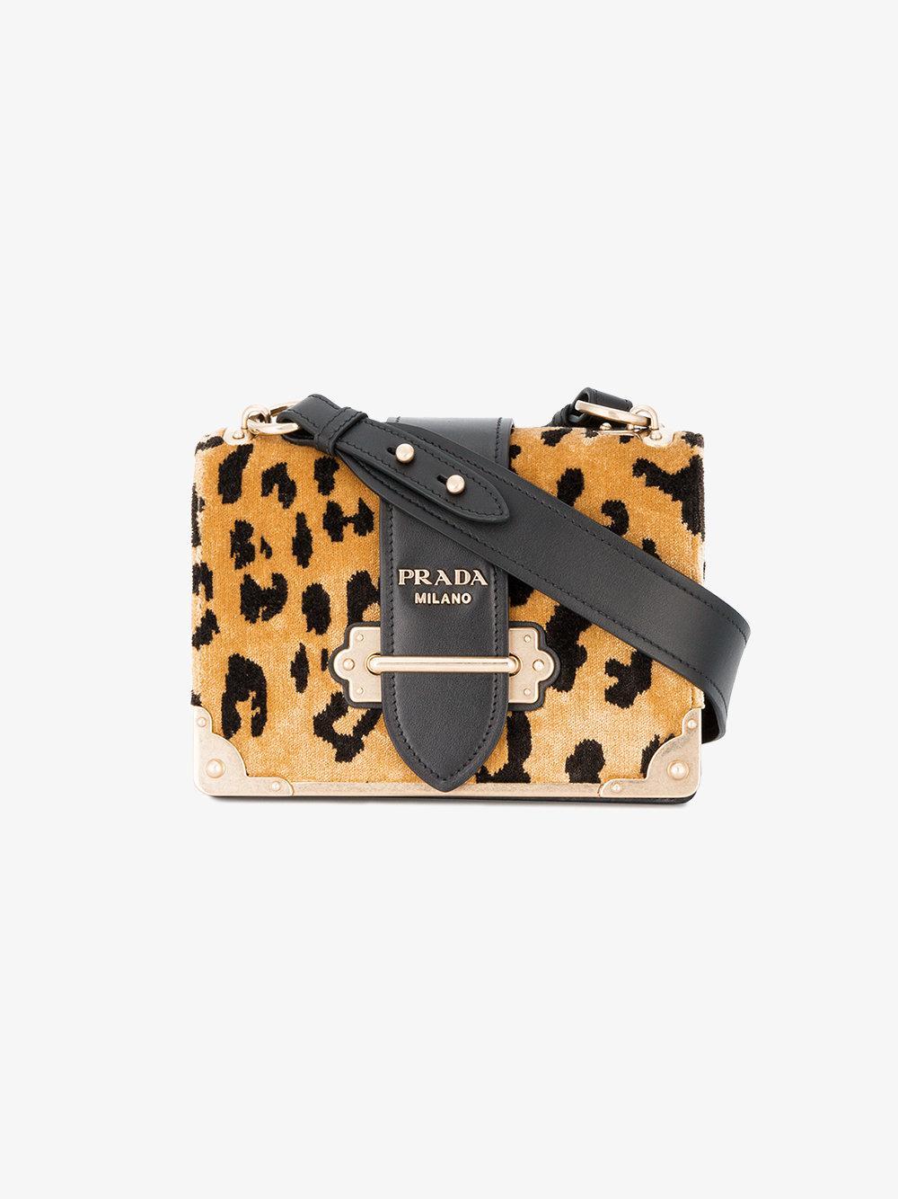796a5a9c6f2 ... order lyst prada leopard cahier small velvet shoulder bag in red 84eea  58c5e