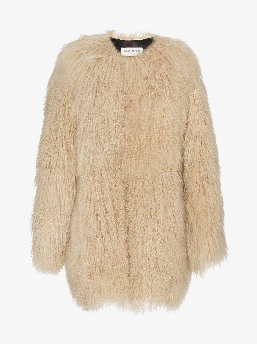 5aaa4ec2e50bed Saint Laurent - Natural Oversized Mongolian Lamb Fur Coat - Lyst. View  fullscreen
