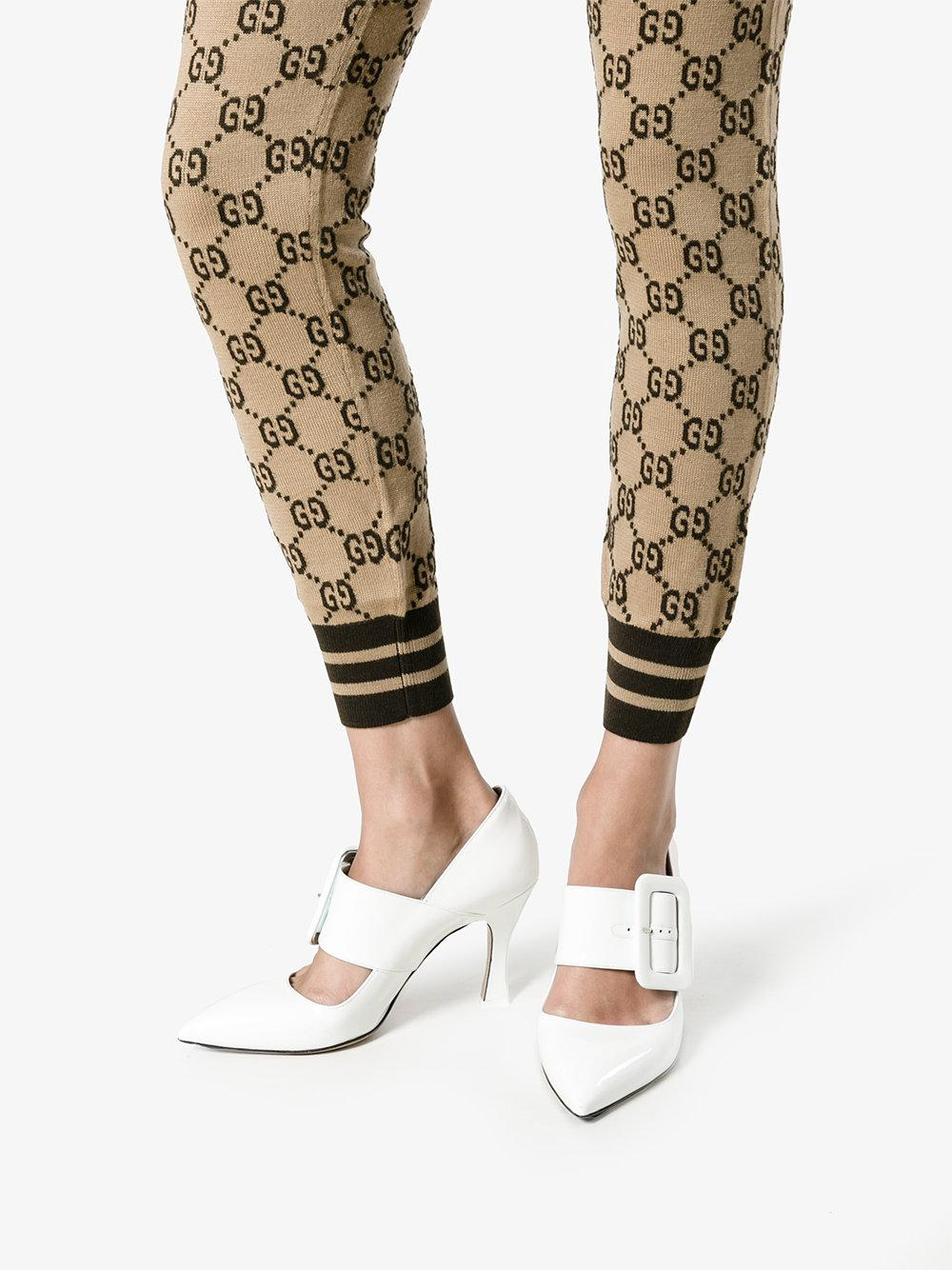49a97f62c9282 Gucci Logo Intarsia Knitted Leggings in Brown - Lyst