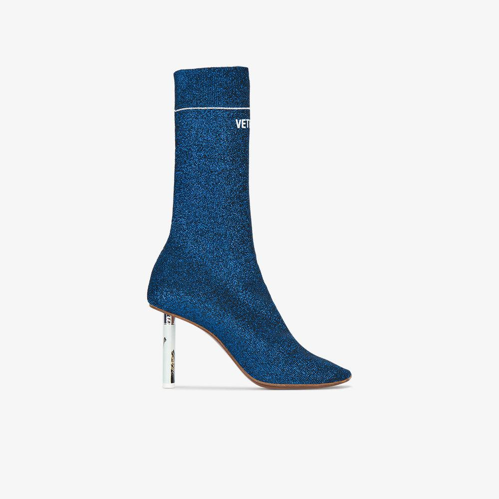 Vetements Lighter Heel Sock Ankle Boots In Blue Lyst
