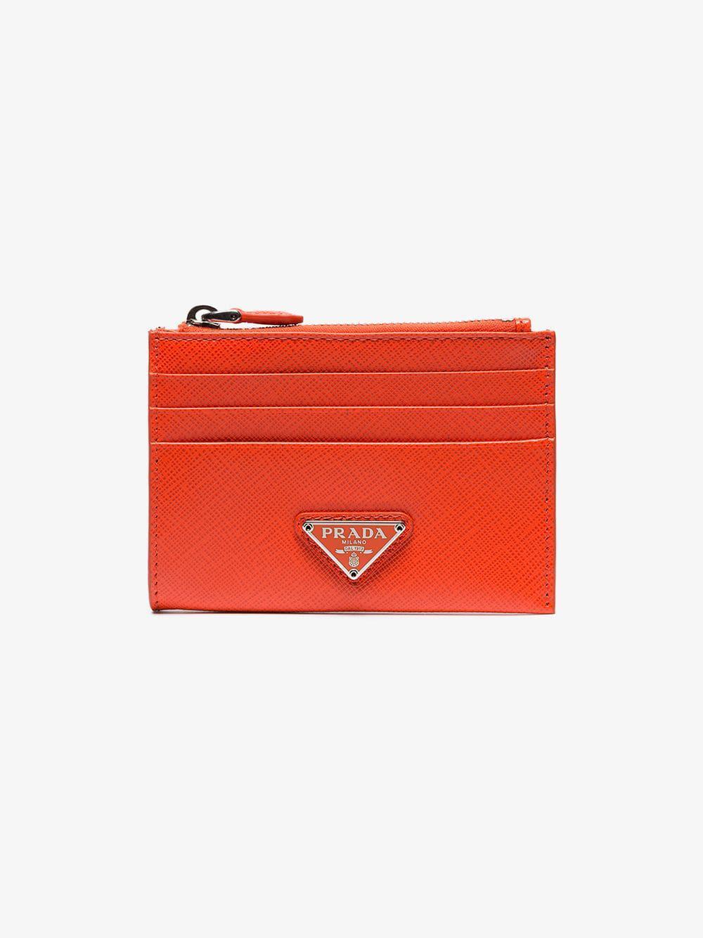 43f56a61a1 Prada Orange Logo Embellished Leather Zipped Card Case in Orange - Lyst