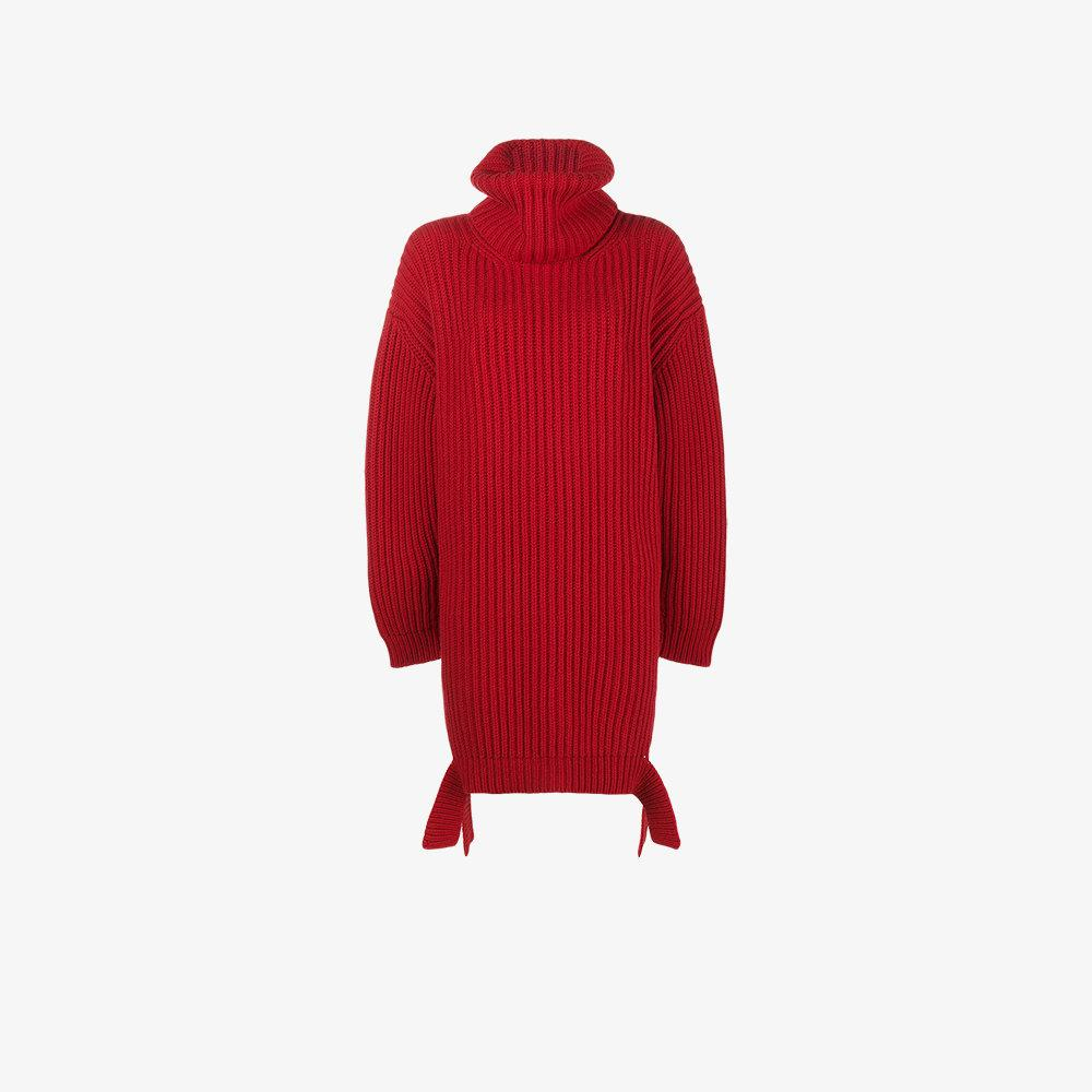 Lyst - Balenciaga Red Chunky Knit Jumper With High Neck in Red 9e85e74d3