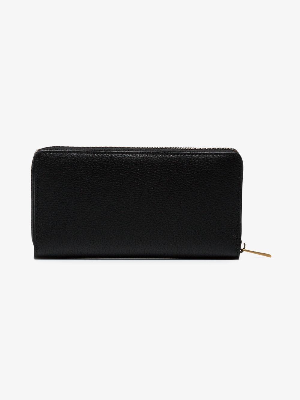 7cf5f6b97dc84d Lyst - Gucci Black Logo Leather Zip Around Wallet in Black