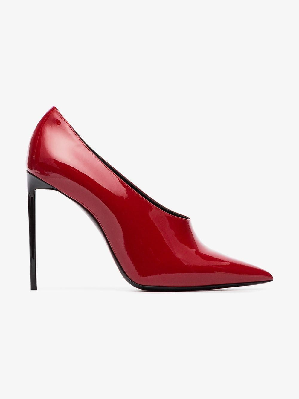 8db461e379ed Lyst - Saint Laurent Teddy 105 Patent Leather Pumps in Red