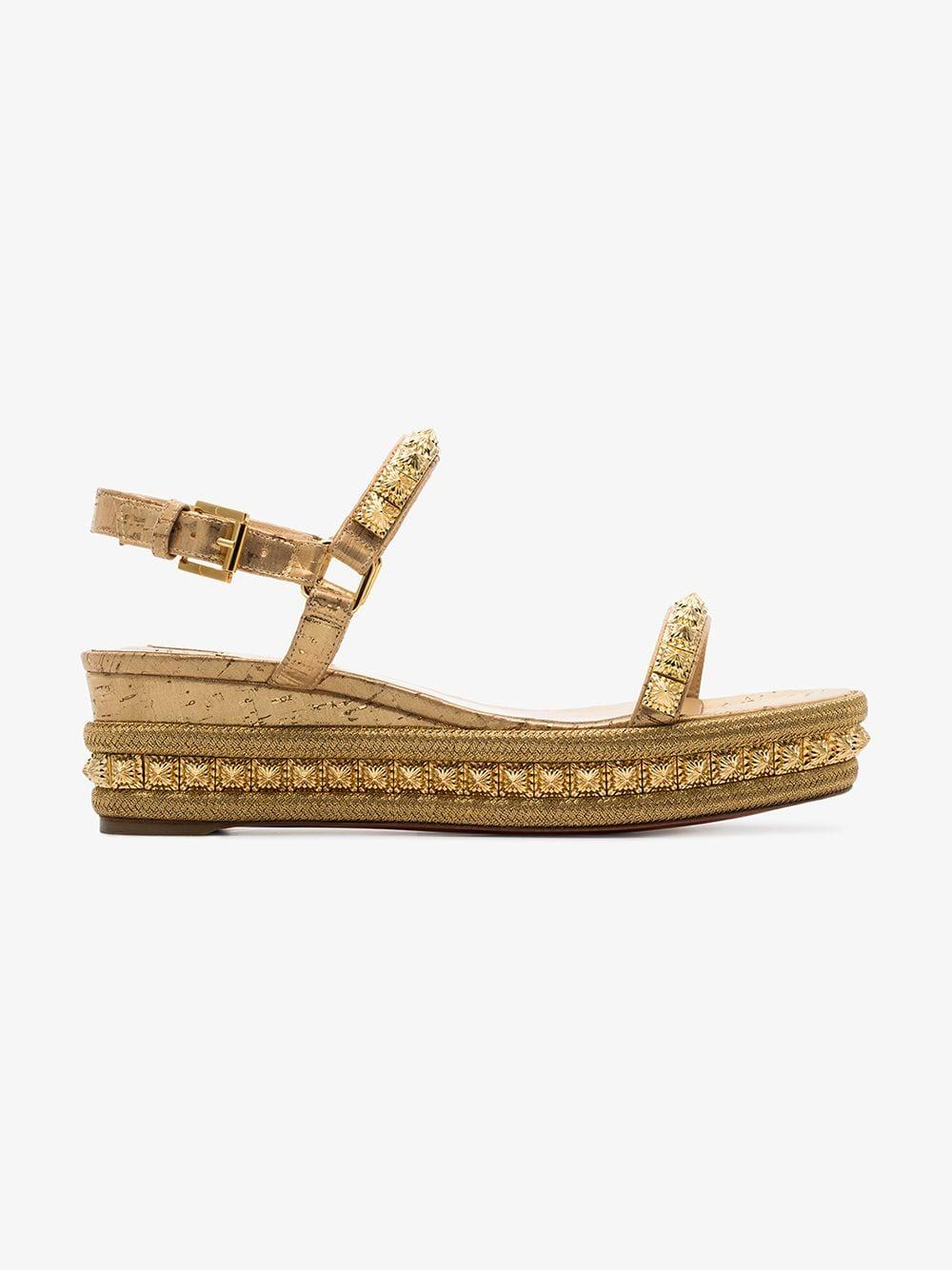 76a21ba0dd83 Christian Louboutin - Metallic Gold Tone Pyriams 60 Leather Wedge Sandals -  Lyst. View fullscreen