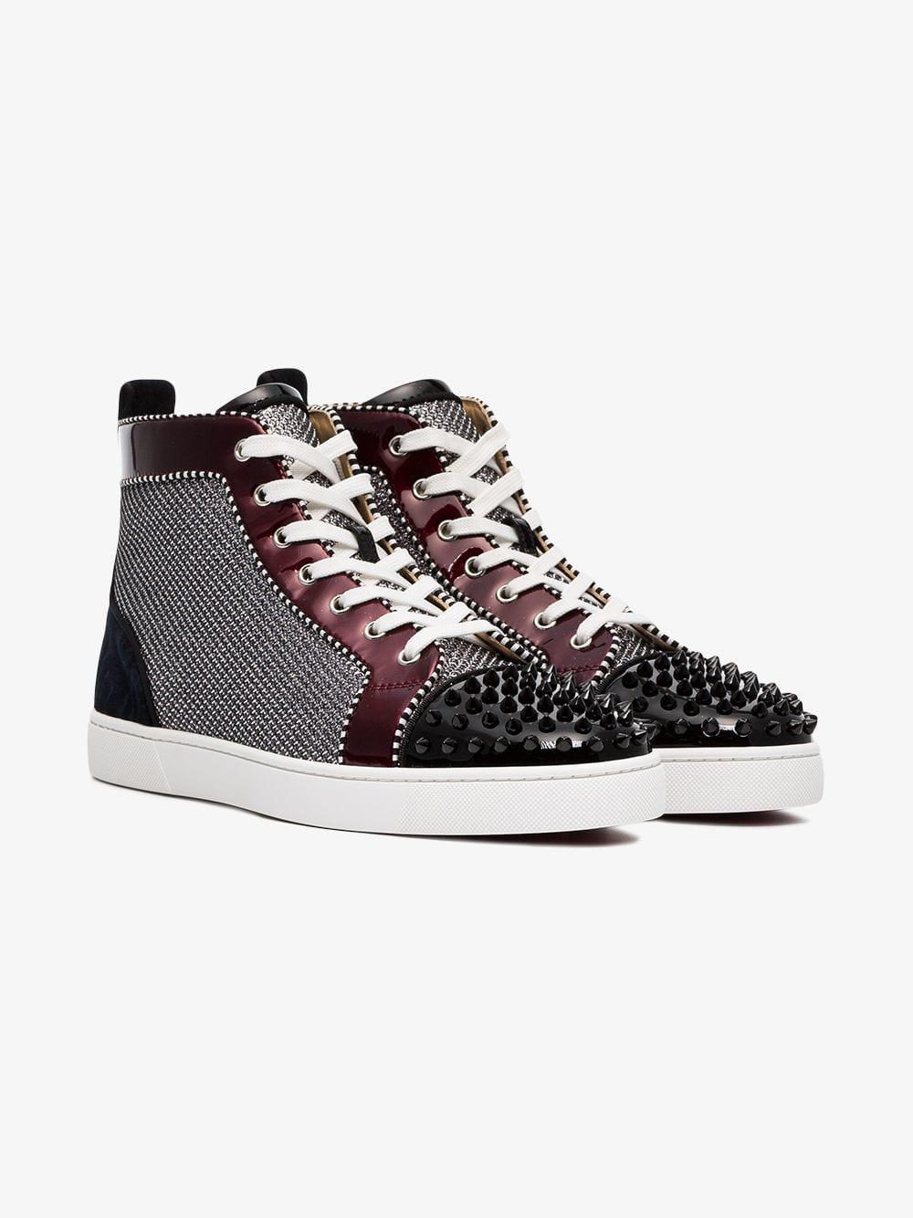 319b2f3c65f Christian Louboutin Orlato Stud Embellished And Patent Leather Sneakers in  Metallic for Men - Lyst