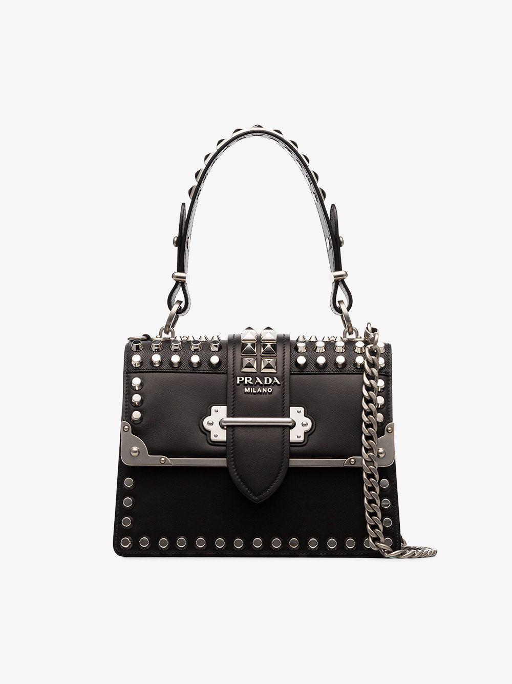 bd0fbdc0d3be Prada - Black Cahier Studded Tote Bag - Lyst. View fullscreen