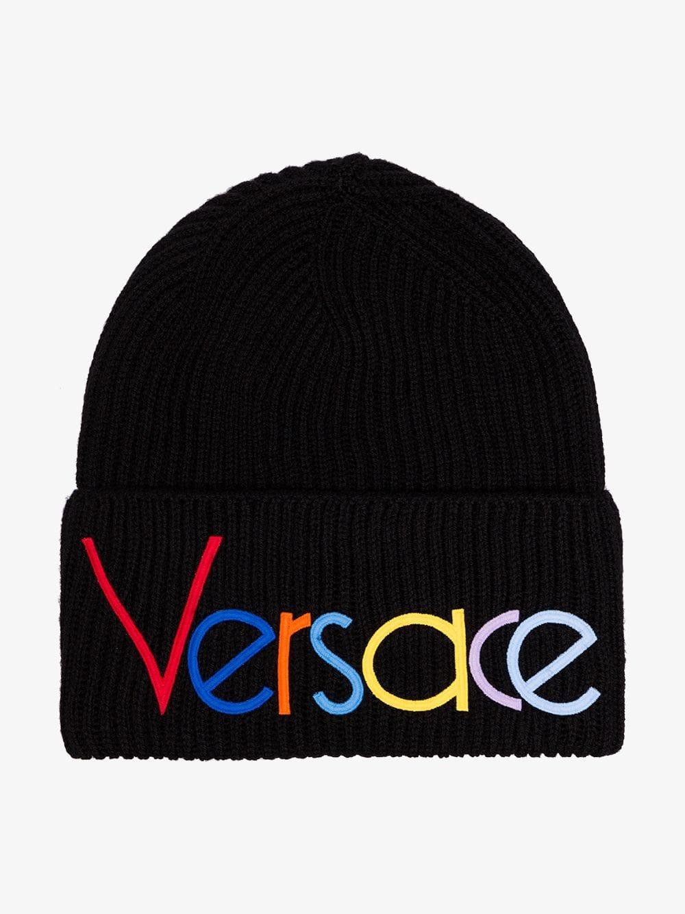 0f1bf58d7eb Lyst - Versace Black Logo Embroidered Beanie Hat in Black for Men
