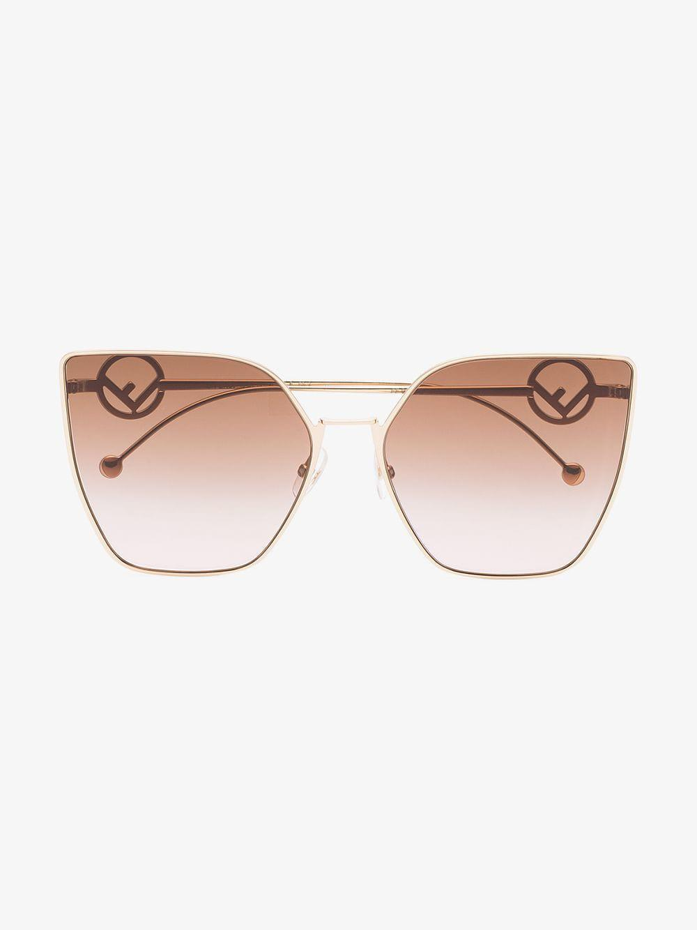 29300276594a Fendi Oversized Square Logo Arm Sunglasses in Pink - Lyst
