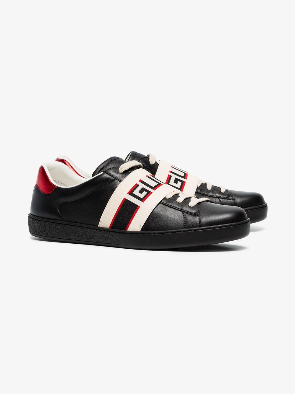 73fa1e308a9 Gucci New Ace Stripe Leather Trainers in Black for Men - Save 11% - Lyst