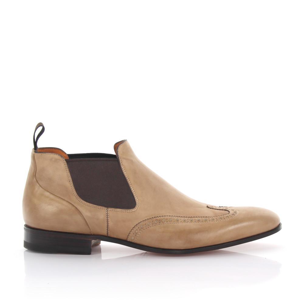 Chelsea Boots brogue leather beige Santoni YUeyey4I