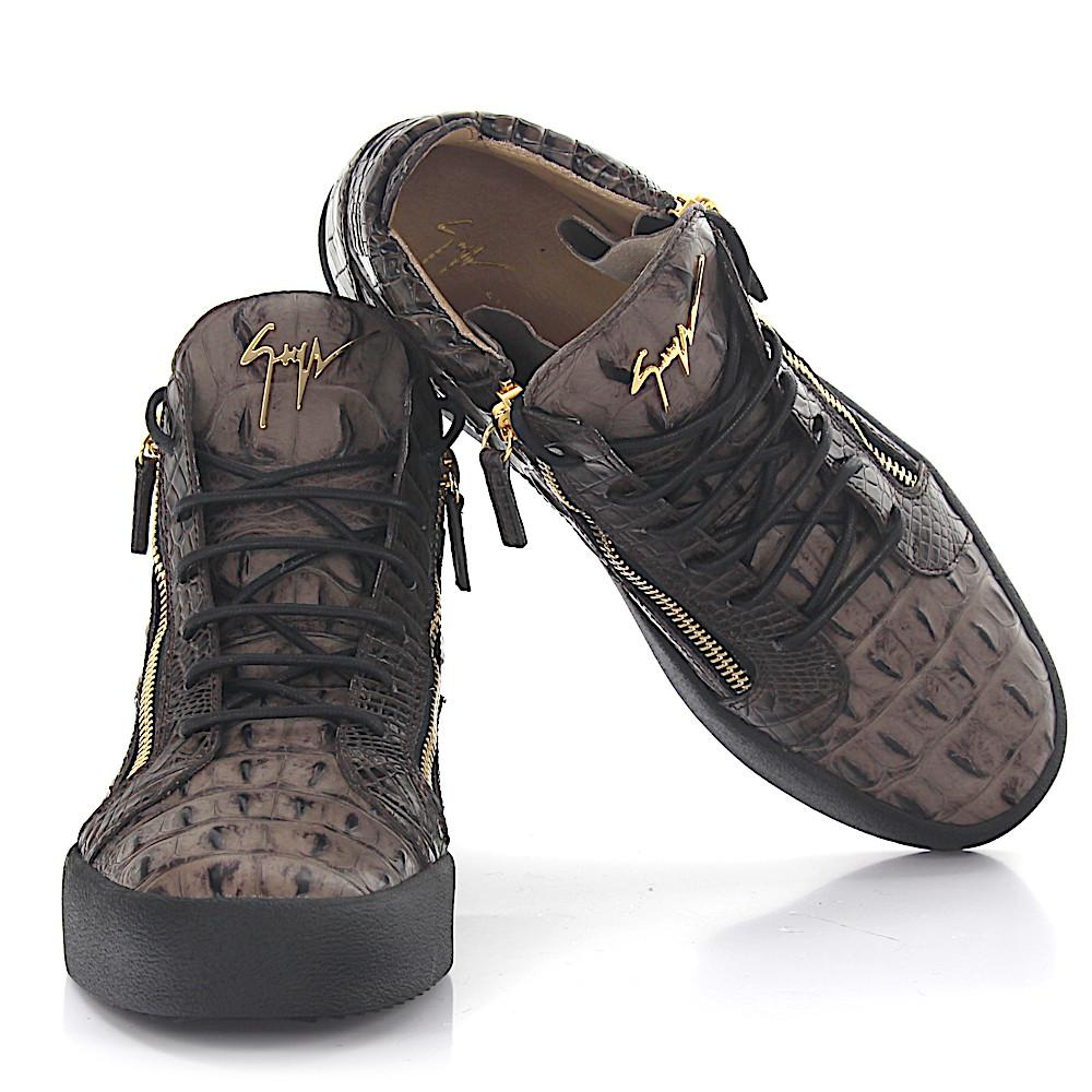 Giuseppe Zanotti Sneakers Mid Top KRISS leather brown crocodile embossment qrhPxZIMSJ