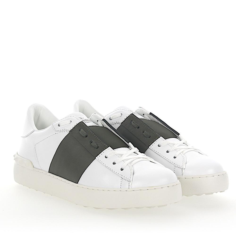 Valentino Sneakers OPEN leather stripes khaki Kj0hH ...