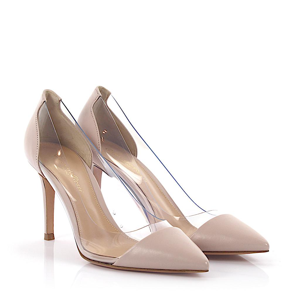 41d9f791fca Lyst - Gianvito Rossi Pumps Plexi 85 Leather Rose in Natural