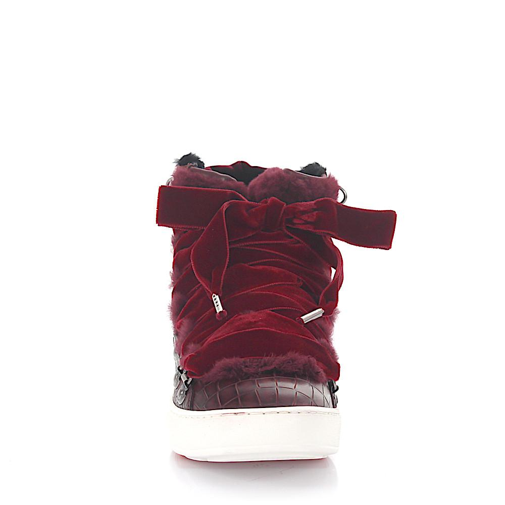 Sneakers 60278 high top leather velvet claret crocodile embossment fur Santoni Best Seller zfC4joaB