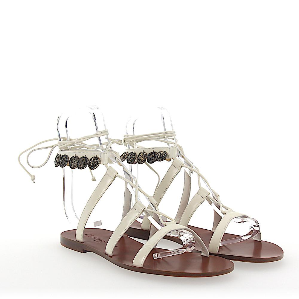 fd3cd02ee880 Lyst - Dior Sandals Zodiac Leather White Metal Embellished in White