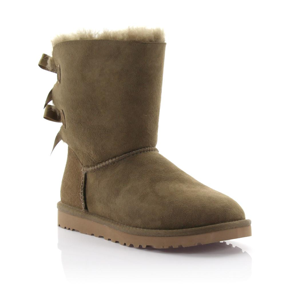 UGG Boots BAILEY BOW 2 suede oliv lamb fur aOZtx8MZk