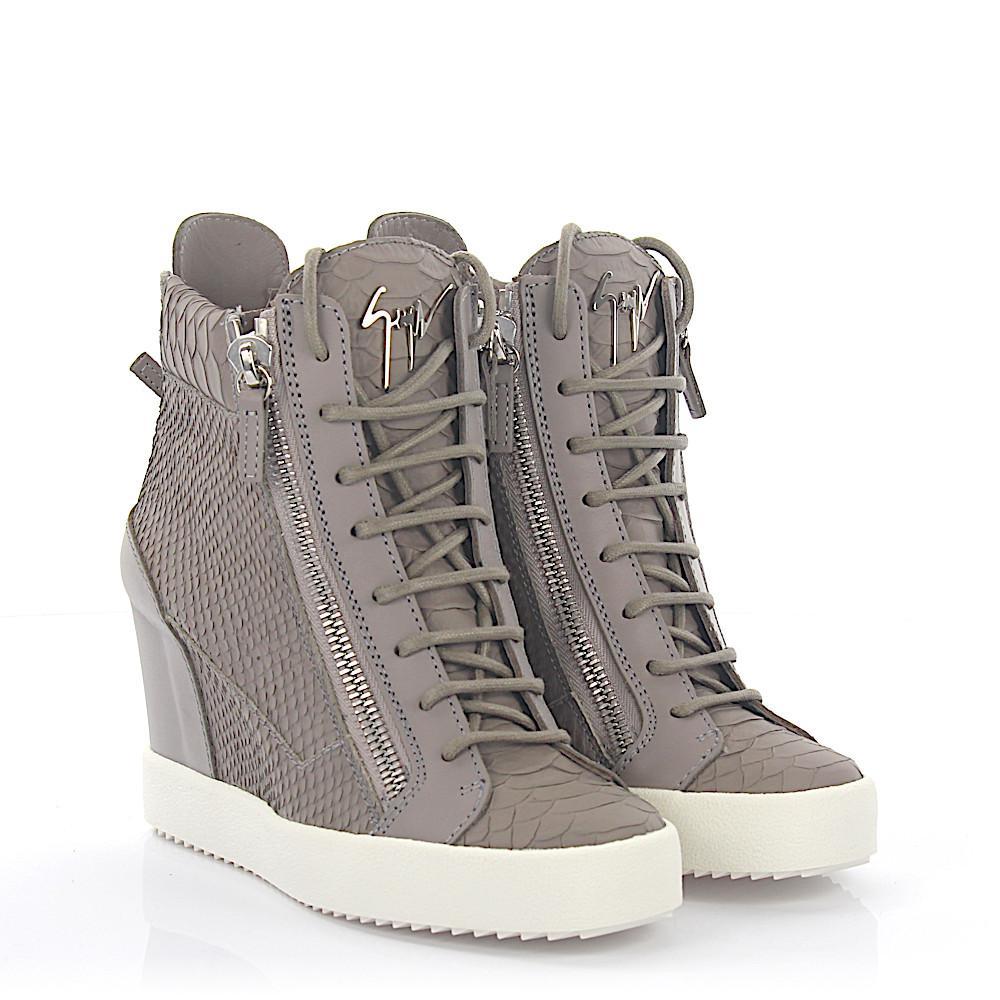 Wedge Sneakers LAMAY leather grey snake embossment Giuseppe Zanotti fPSAnull9