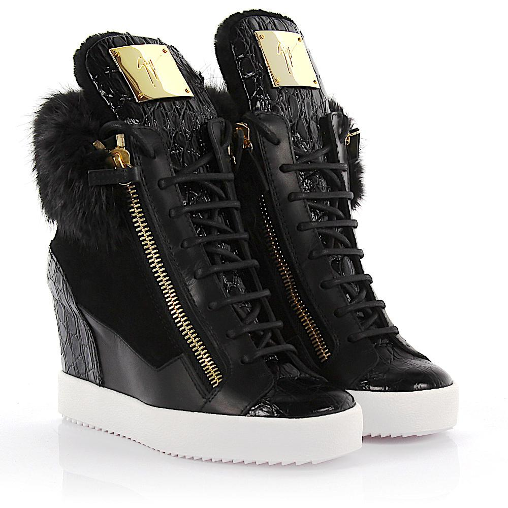 136cc6116f7d Giuseppe Zanotti Wedge Sneaker Lamay Lorenz 75 Suede Black Fur in ...