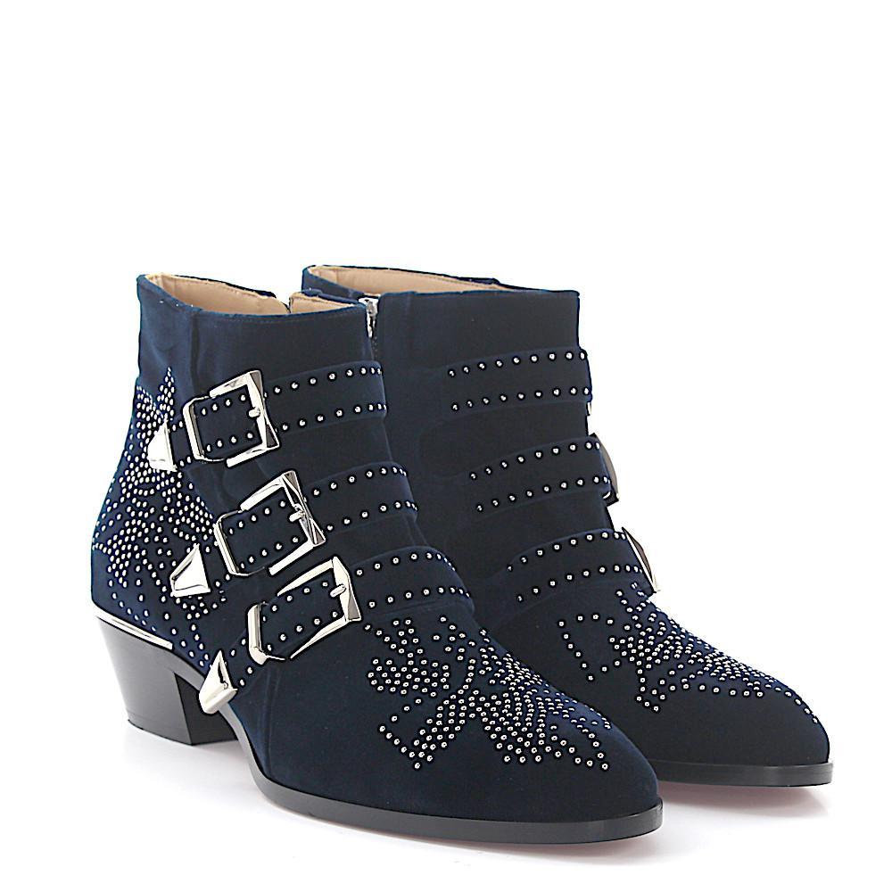 Chloé Ankle Boots SUSANNA velvet rivets silver floral