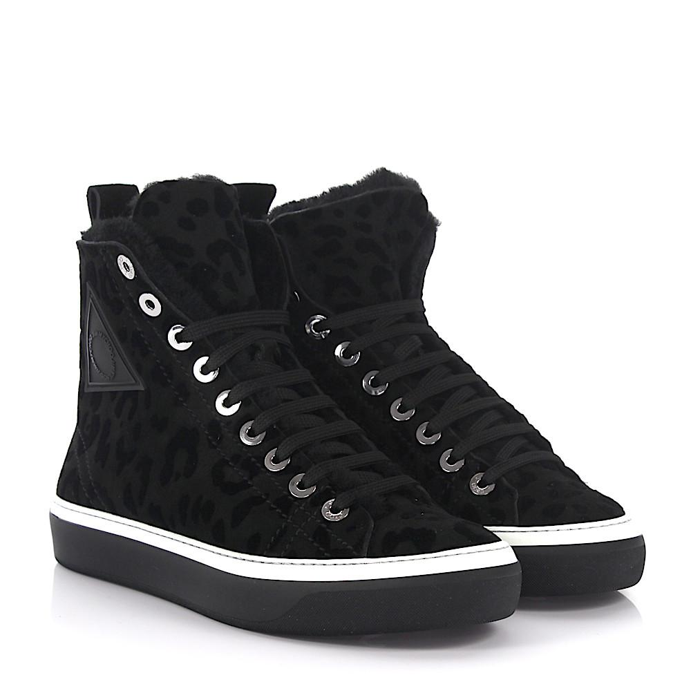 Sneakers High Boris Leopard-Look lamb fur black Jimmy Choo London 0JPNiC
