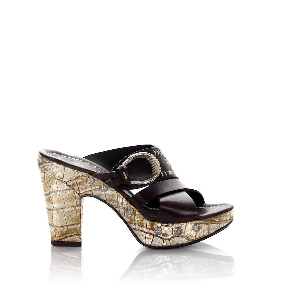 Platform Sandals leather brown crocodile embossing rivets Henry Beguelin RqpRvvpd5