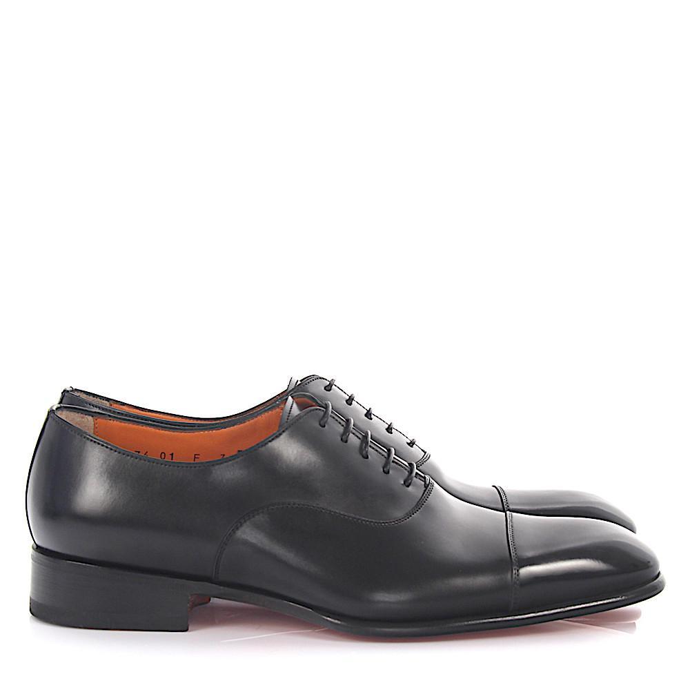 santoni Oxford 12474 leather dark hand sewn WMMZmxo59Y