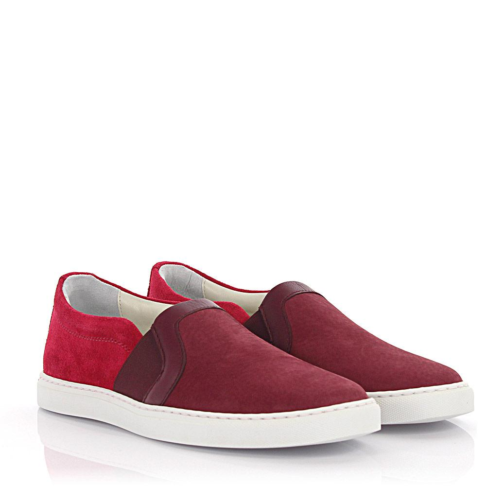 Slip-on Sneaker suede leather red Lanvin uTxih