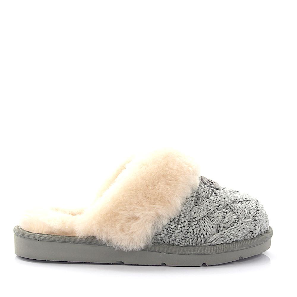 091720a4c0f Lyst - UGG House Slippers Cozy Cable Knitted Grey Lamb Fur in Gray
