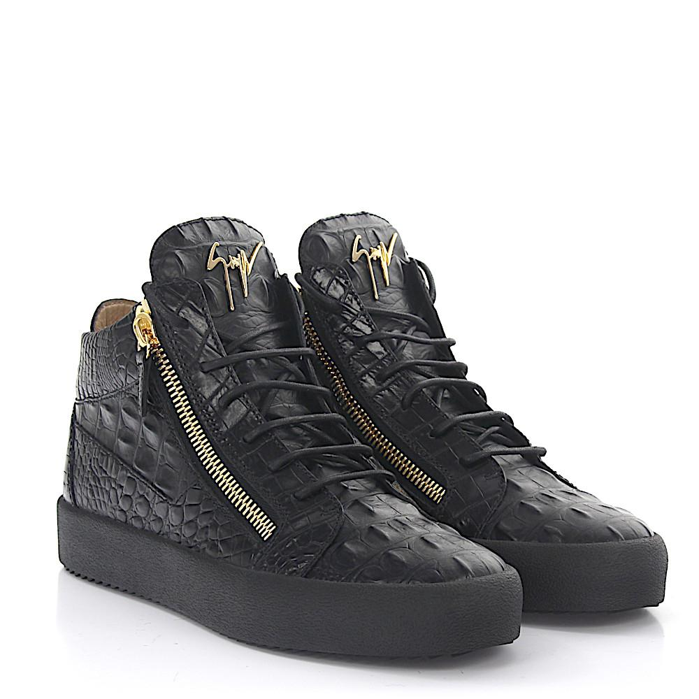 e212bb6661824 Giuseppe Zanotti Sneaker Mid Top Kriss Leather Black Alligator ...