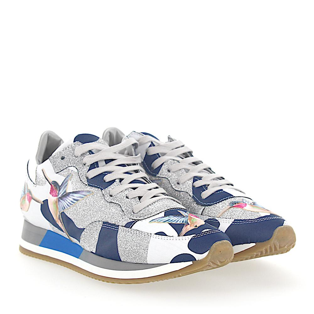 Sneakers PARADIS leather camouflage blue white glitter silver humming-bird Philippe Model phnTCsK2u