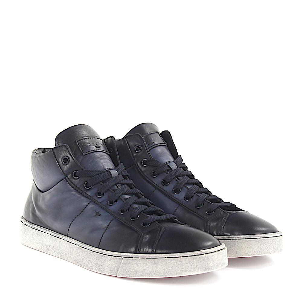 Sneakers Mid High 20532 nappa leather blue finished Santoni MGYRUi