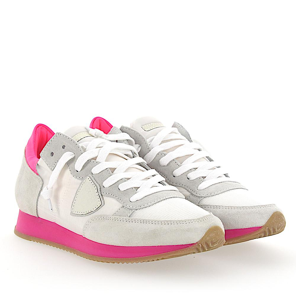 White and neon-pink Tropez sneakers Philippe Model Cheap Sale Great Deals 0c81T
