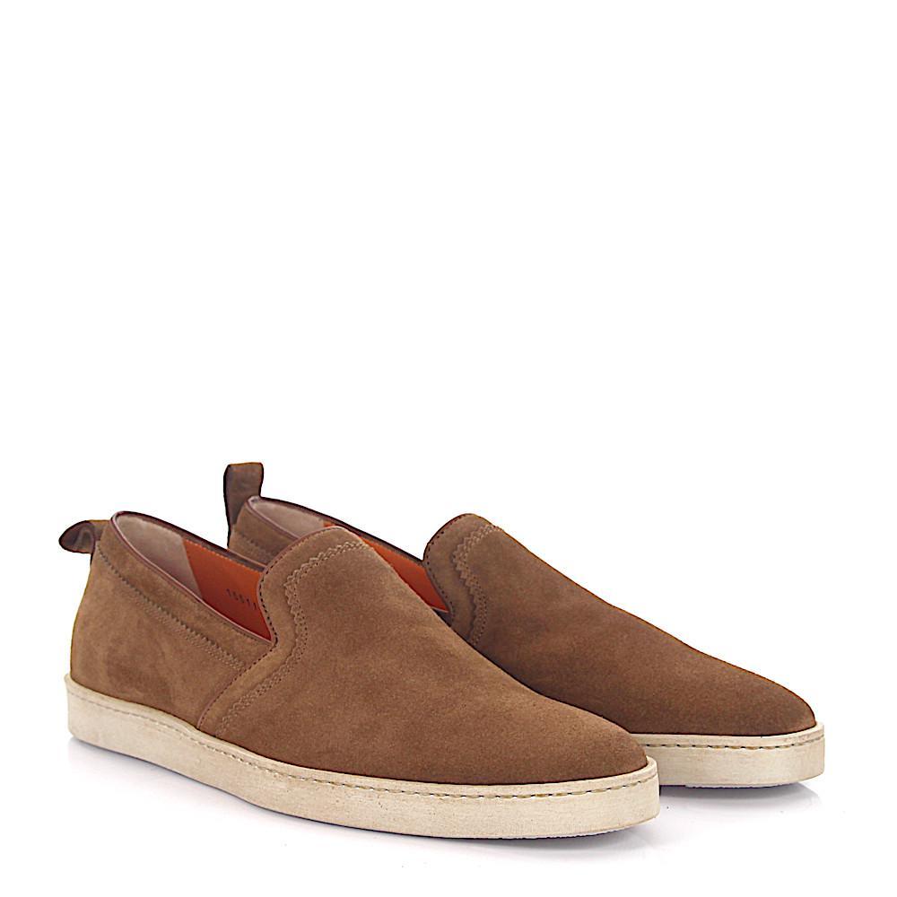 Sneaker 53853 suede light brown Santoni NfO9wGXLR
