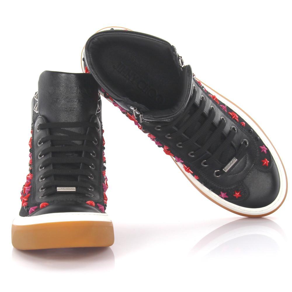 Jimmy chooSneakers high Argyle saffiano leather denim black stars ornament lSlZq8Gj