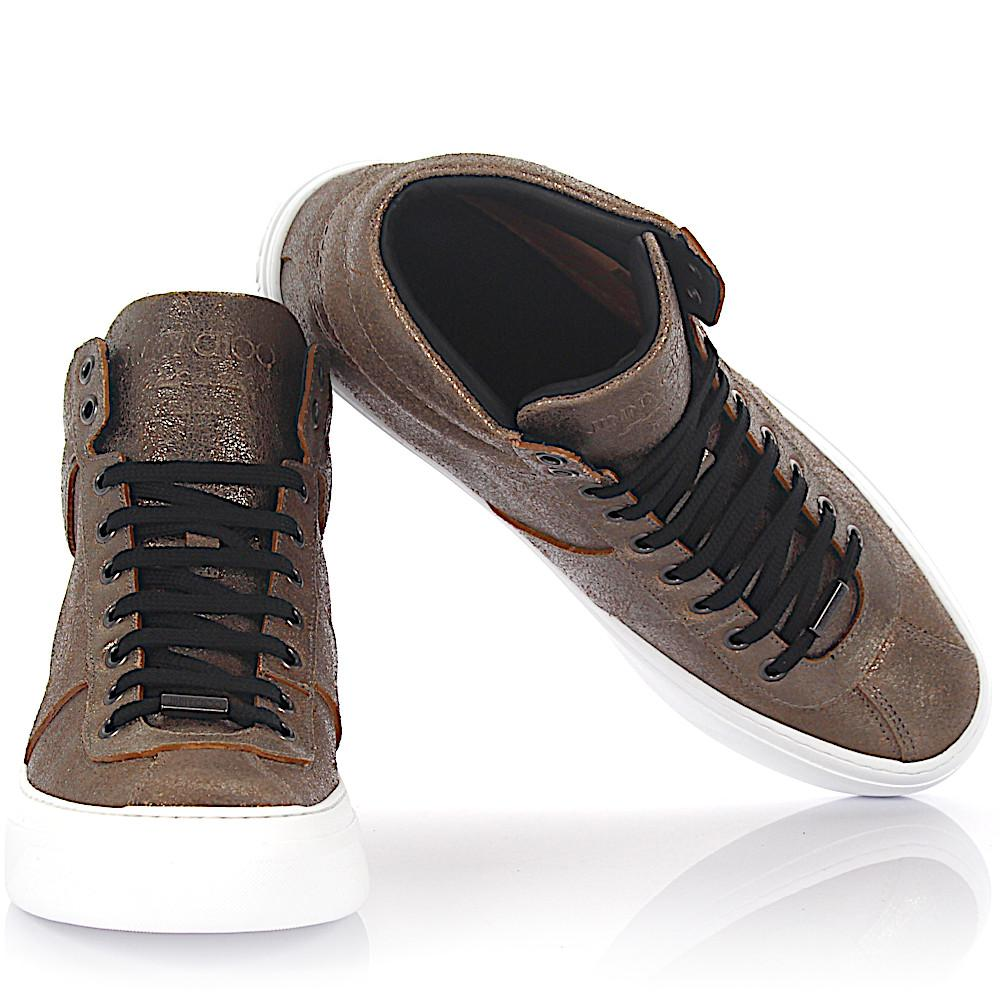 Sneaker high Belgravi leather bronze metallic finished Jimmy Choo London dyZ30Ty8