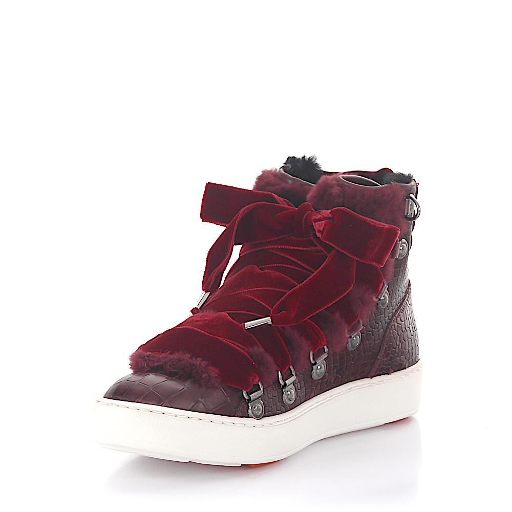 santoni Sneakers 60278 high top leather velvet claret crocodile embossment fur