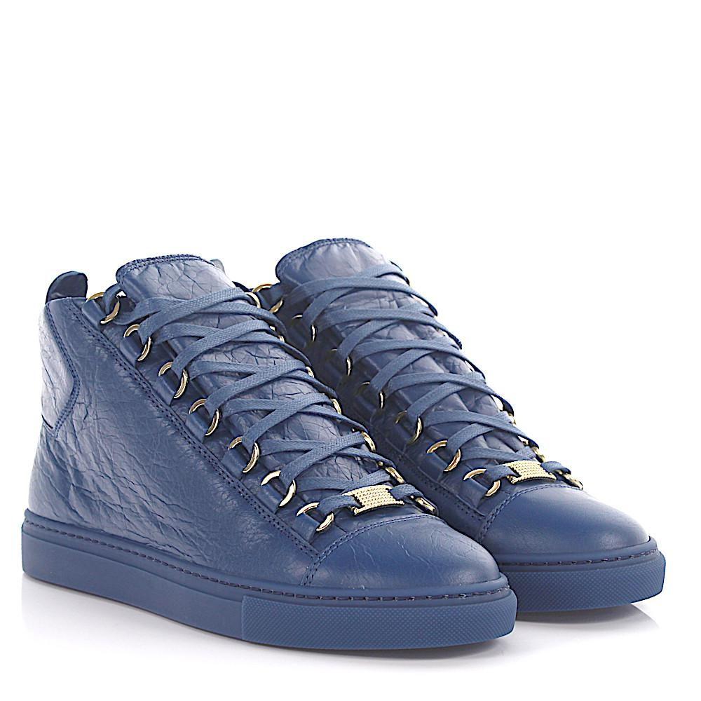 Chaussures De Sport En Cuir Bleu Arène Faible Plissés Balenciaga 8wEtgM