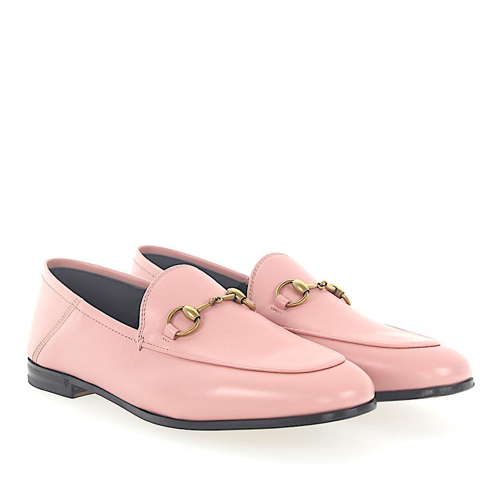 Gucci Flat Shoes BRIXTON calfskin Metal decorations rose F0XJWvot