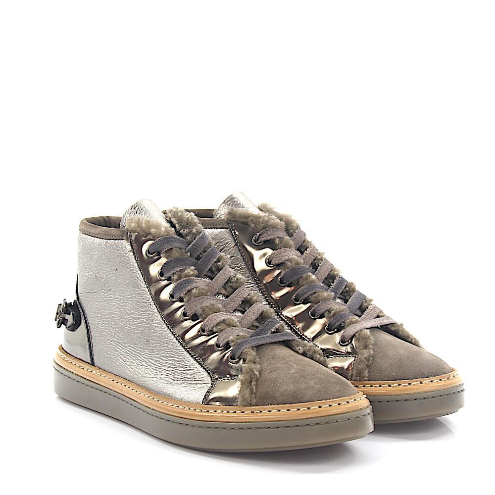 Sneakers mid top leather taupe silver lambskin Attilio Giusti Leombruni 7GbNQnVn