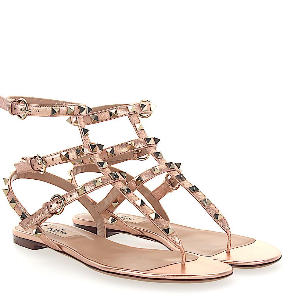 Valentino Sandals ROCKSTUD leather rivets gold RGs8dz8v