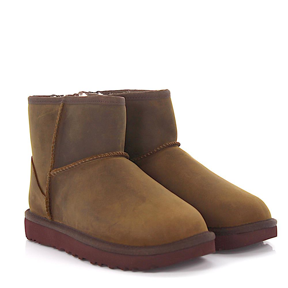 UGG Boots Classic Mini Leather nubuck leather finished sheep fur mwezMi