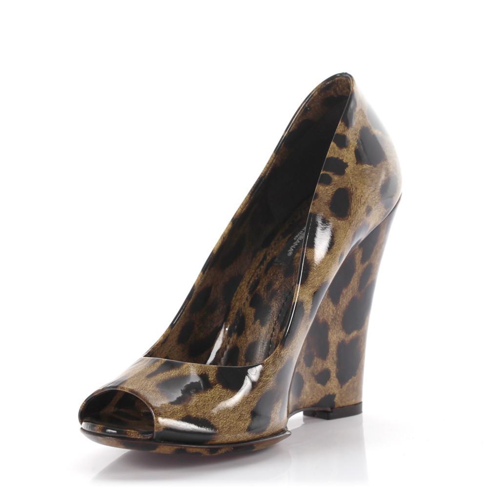 Dolce & Gabbana Pumps calfskin patent leather Lion print leopard 7suwCaCGdc