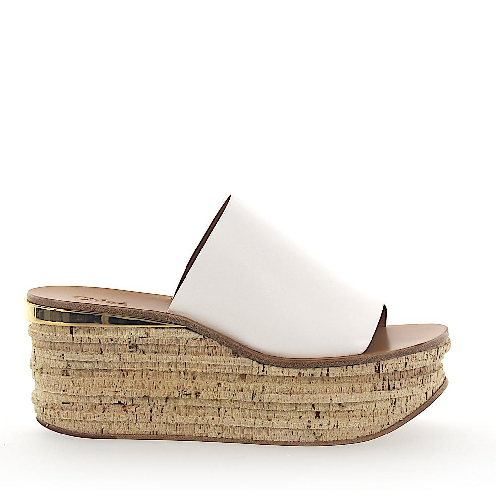31f47807e510 Chloé Wedge Sandals Camille Leather White in White - Lyst