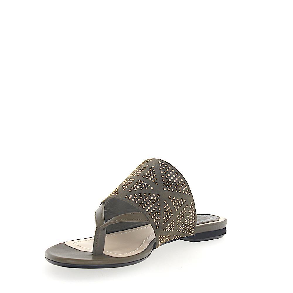 Flip Flops RAINBOW STELLAR leather suede khaki jewellery ornament Dior 7gwrw