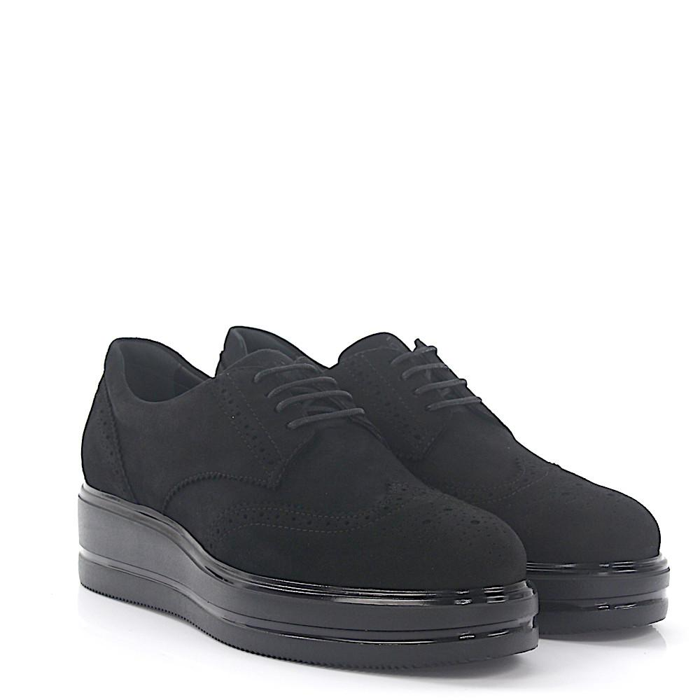 Platform Brogues H323 suede black lyra-perforation Hogan 3nTOE