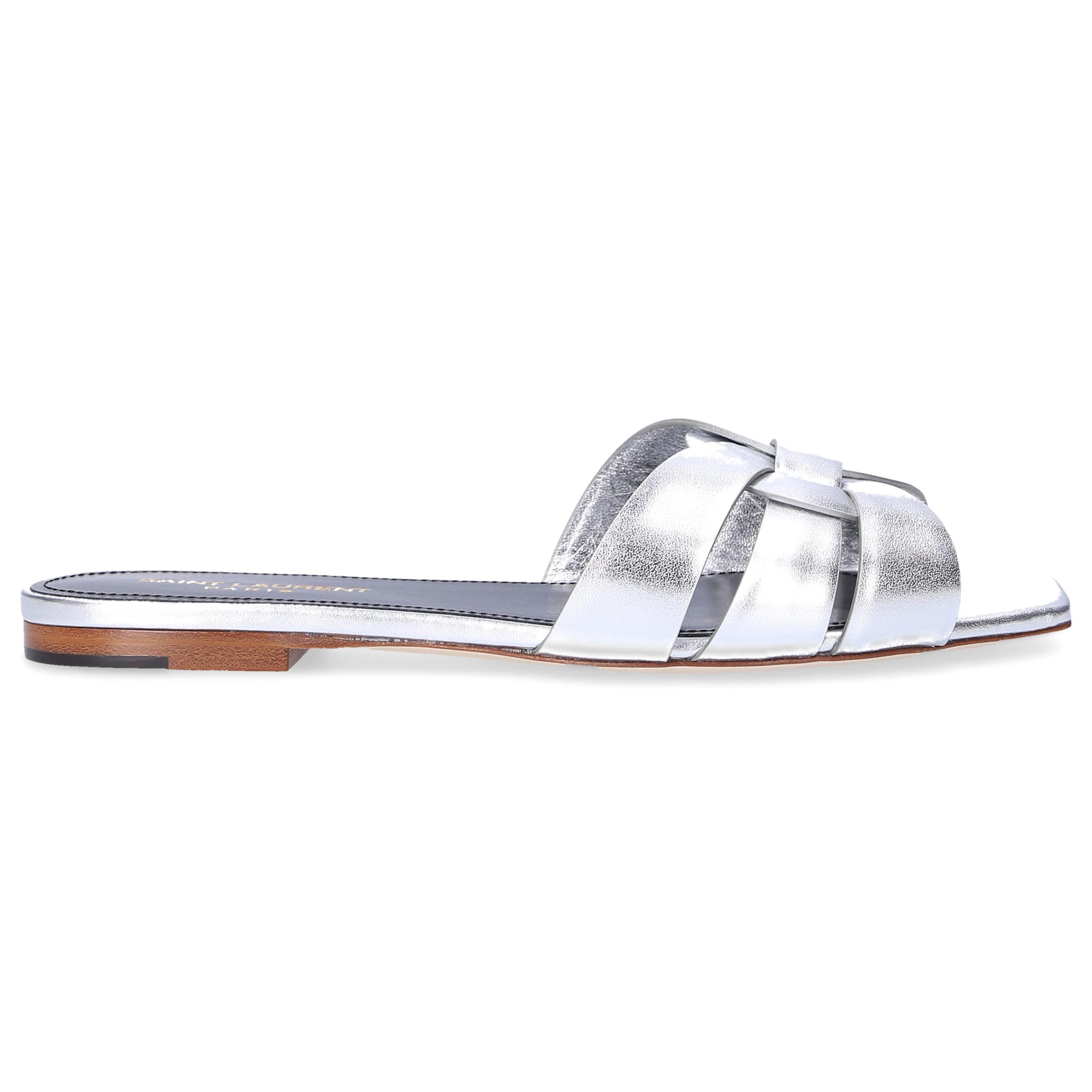 33f587645ccd Saint Laurent Sandals Pied 05 in Metallic - Lyst