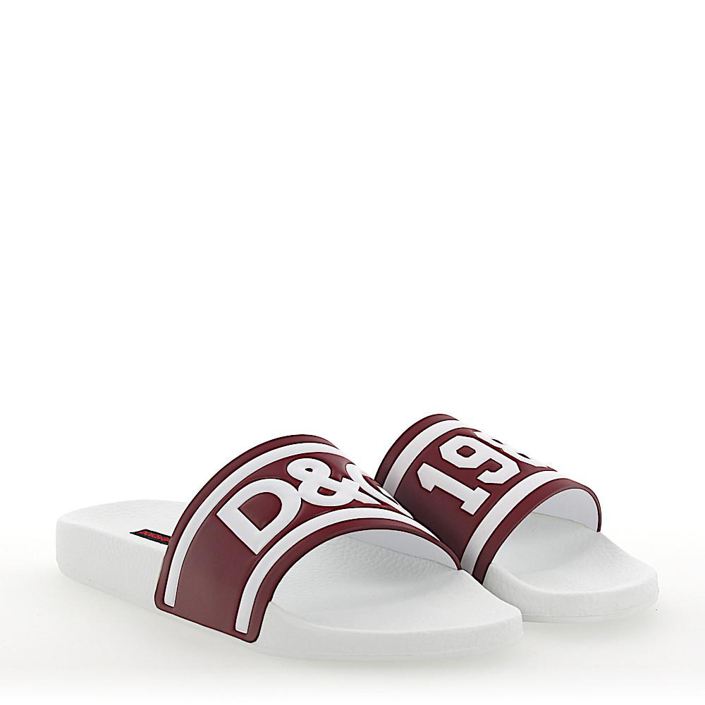 Dolce & Gabbana Sandals SAINT BARTH leather bordeaux logo fspx1