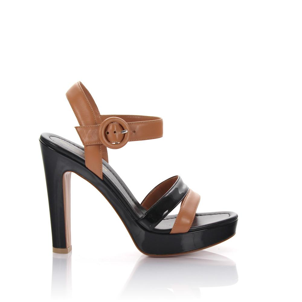 Sandals GN3583 plateau nappa leather brown patent leather black Gianvito Rossi fbnzn0y2J