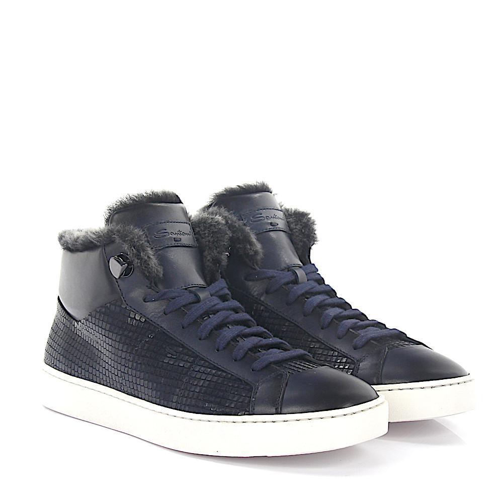 Sneakers 54977 leather blue embossed lambskin Santoni WXv1Tpwql